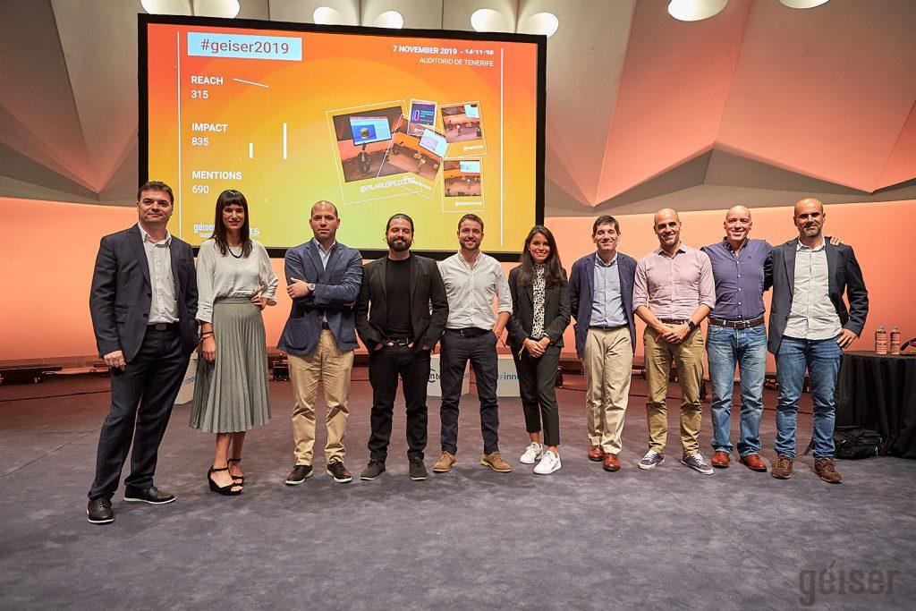 Imagen de los ponentes de Géiser 2019, junto a los organizadores Pablo Marrero y Gustavo García de BIPLAZA